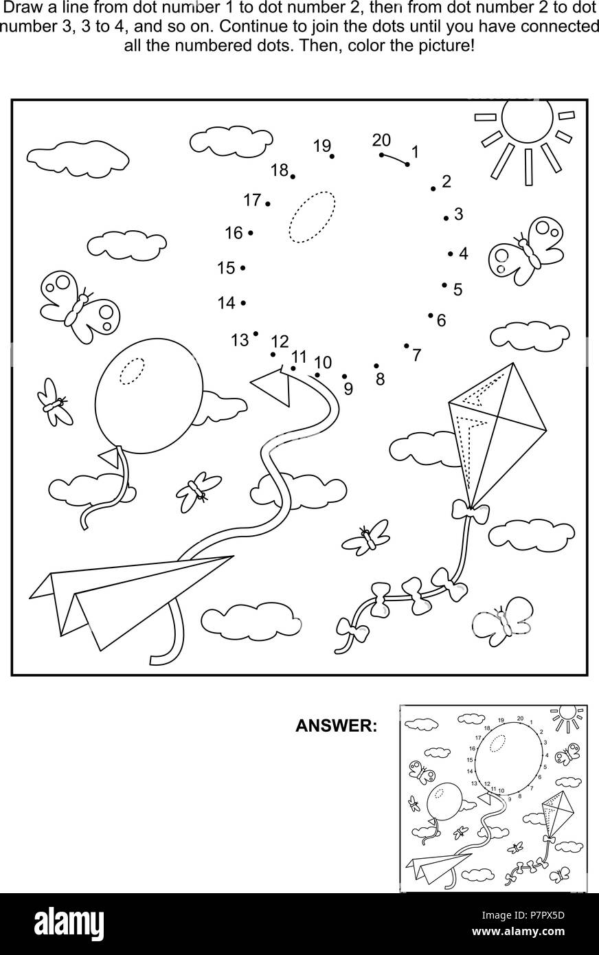 Connect the dots picture puzzle and coloring page with balloons ...