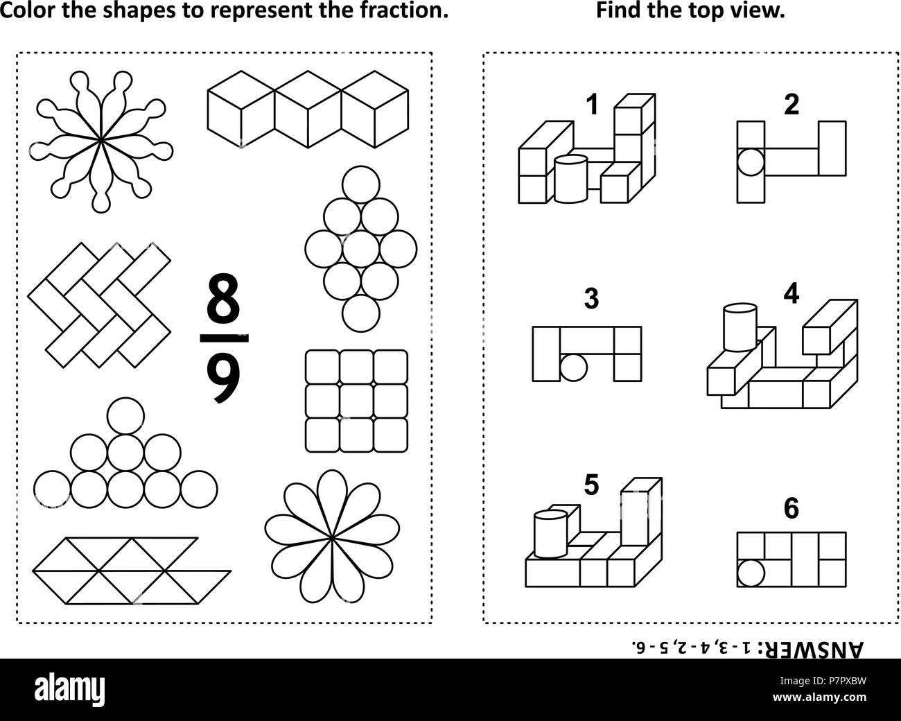 Two visual math puzzles and coloring pages. Color the shapes to ...