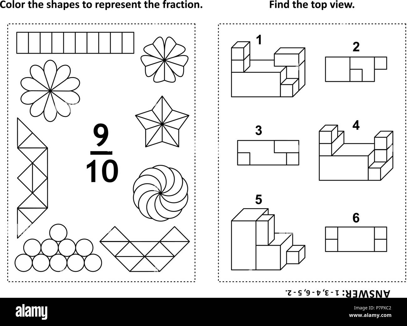 Two visual math puzzles and coloring pages color the shapes to