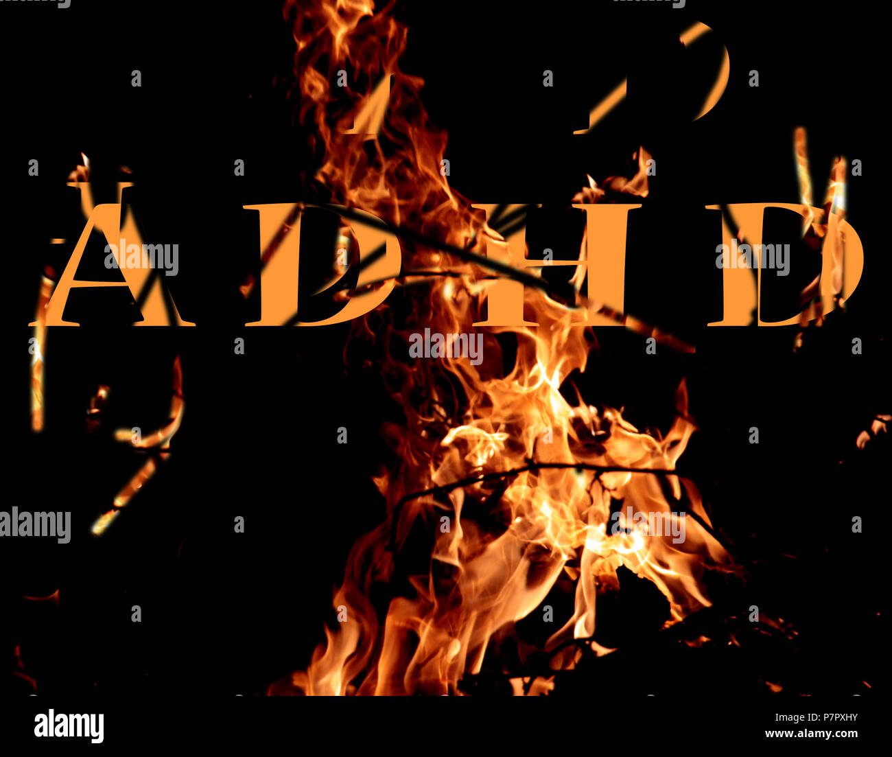 adhd letters on a fire background,image of a - Stock Image