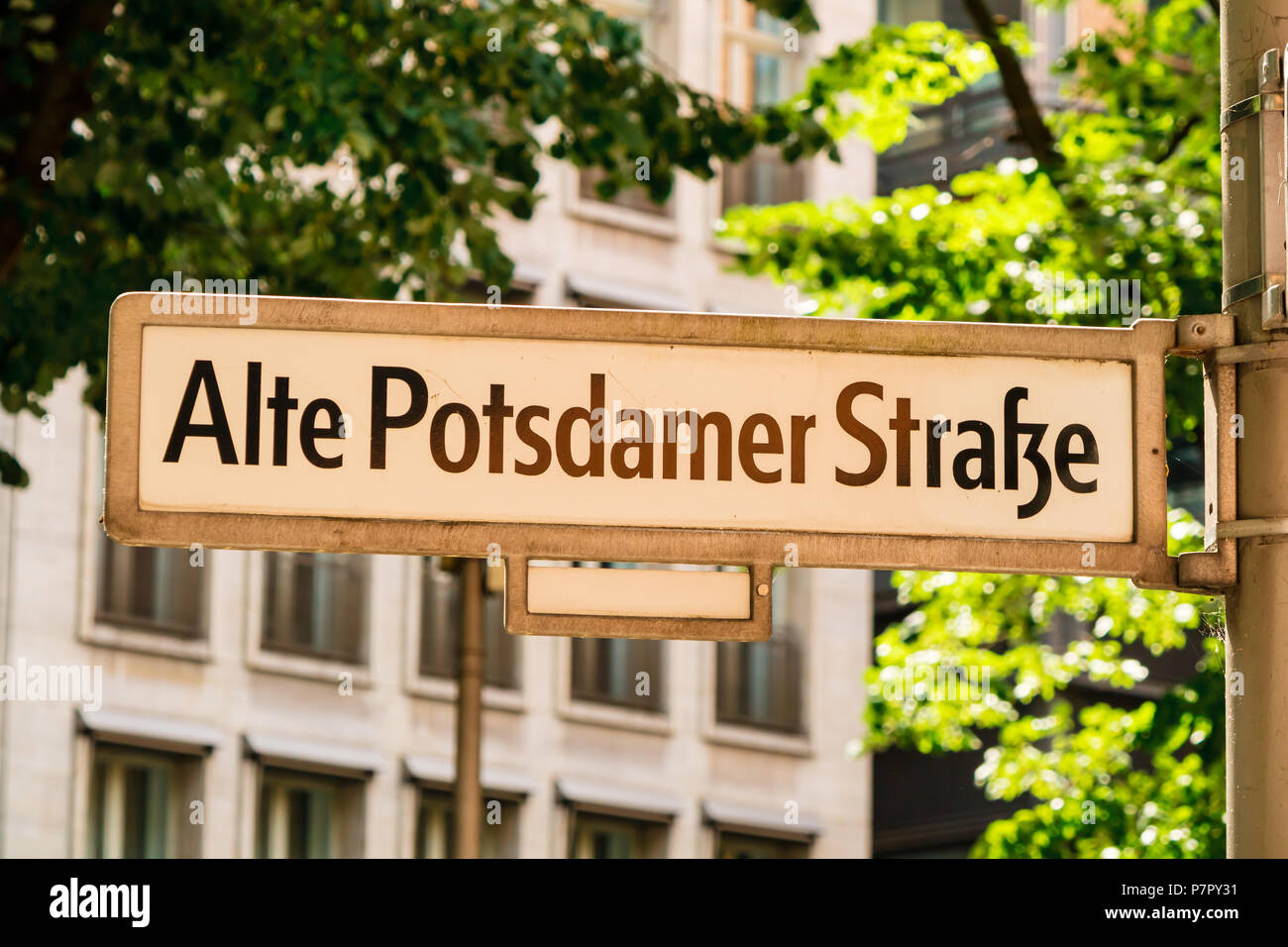 Historic Berlin famous street sign of the Alte Postdamer Strasse. - Stock Image