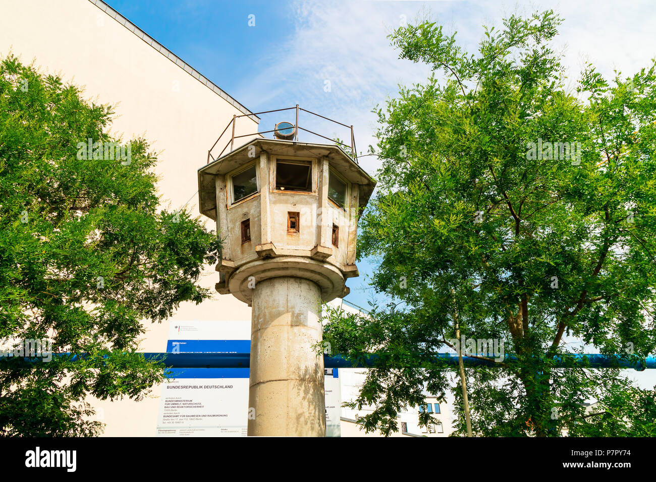 One of the last relics of the DDR - the type BT 6 watchtower on Potsdamer Platz. - Stock Image