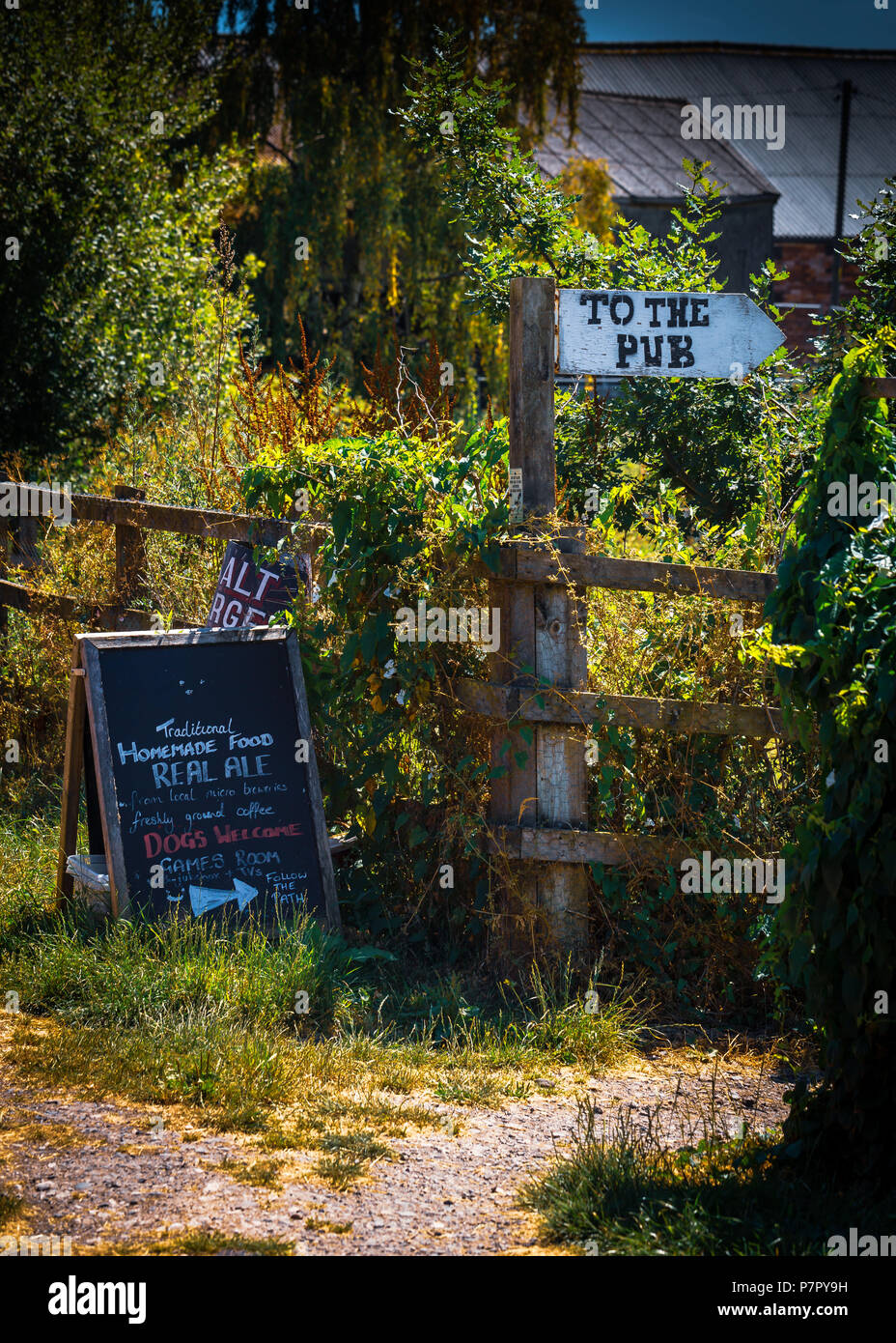 Path to the pub from the canal in Northwich Cheshire - Stock Image