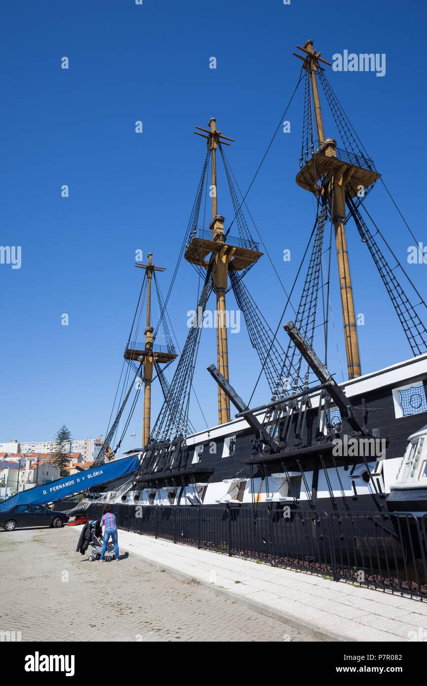 Fragata D. Fernando II e Gloria, 50 gun frigate of the Portuguese Navy in Cacilhas, Almada, Portugal, 19th century sailing warship Stock Photo