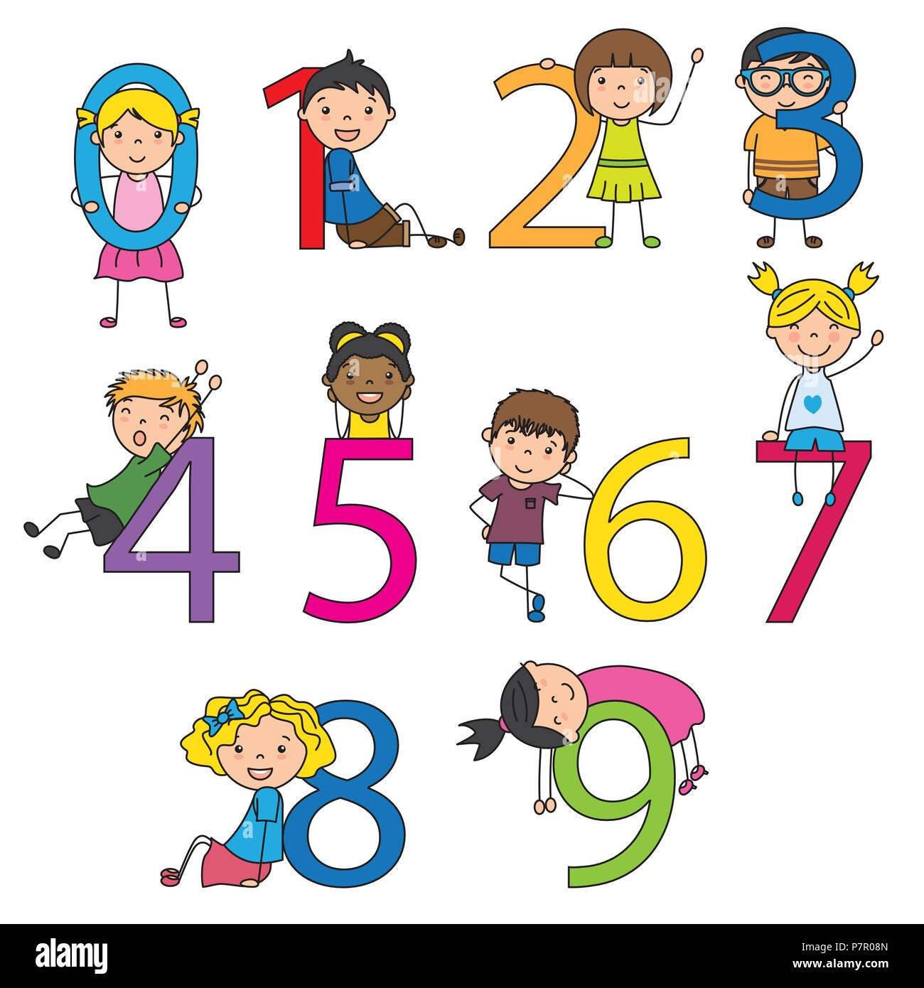 Funny children with numbers from 0 to 9. Isolated vector - Stock Vector