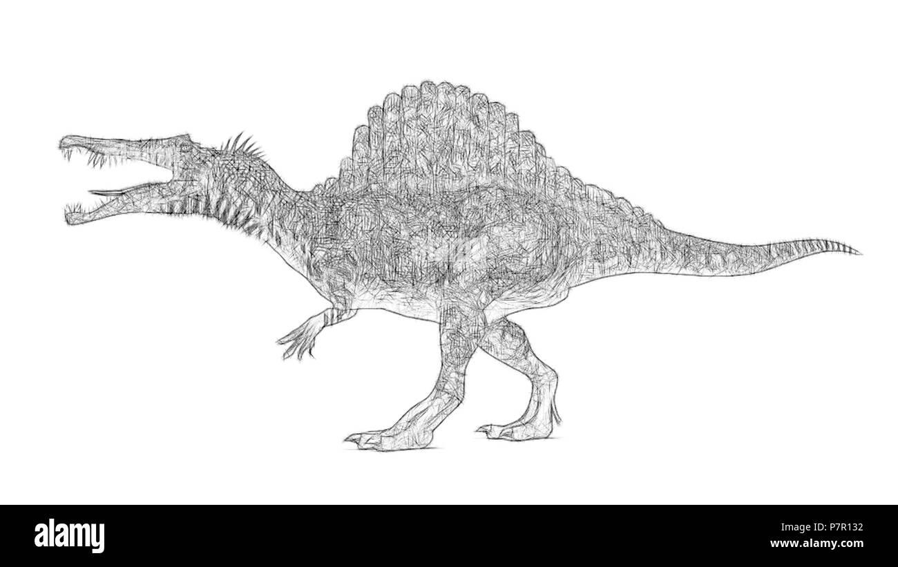 sketch of the walking spinosaurus Stock Photo