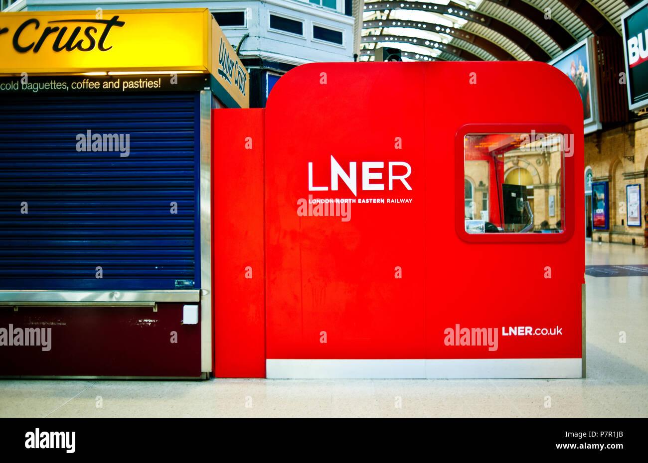 LNER ( London North Eastern railway ) branding, York Railway Station, York, England - Stock Image
