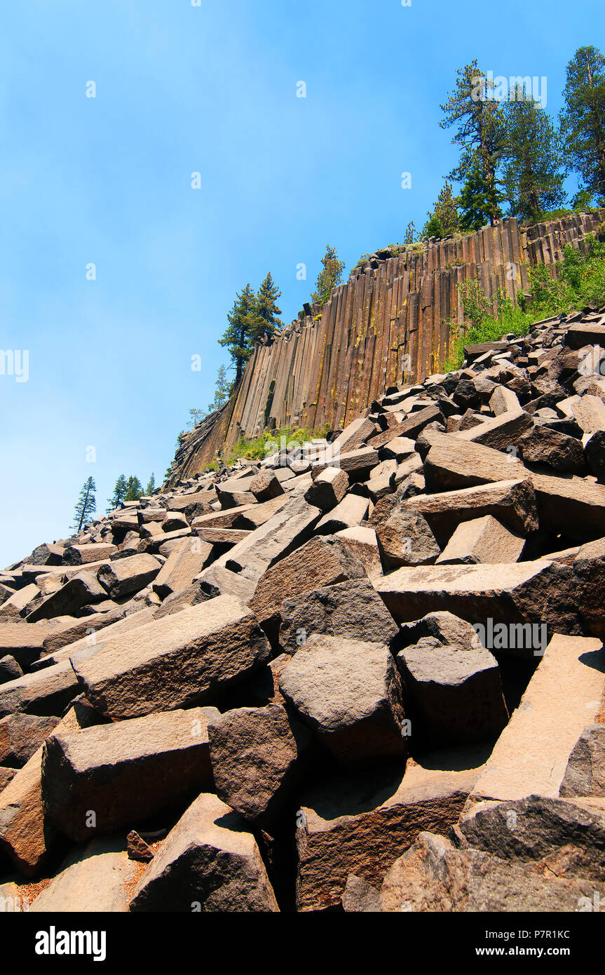 Devils Postpile National Monument is one of the top attractions in the Mammoth Lakes area. It is unique. - Stock Image
