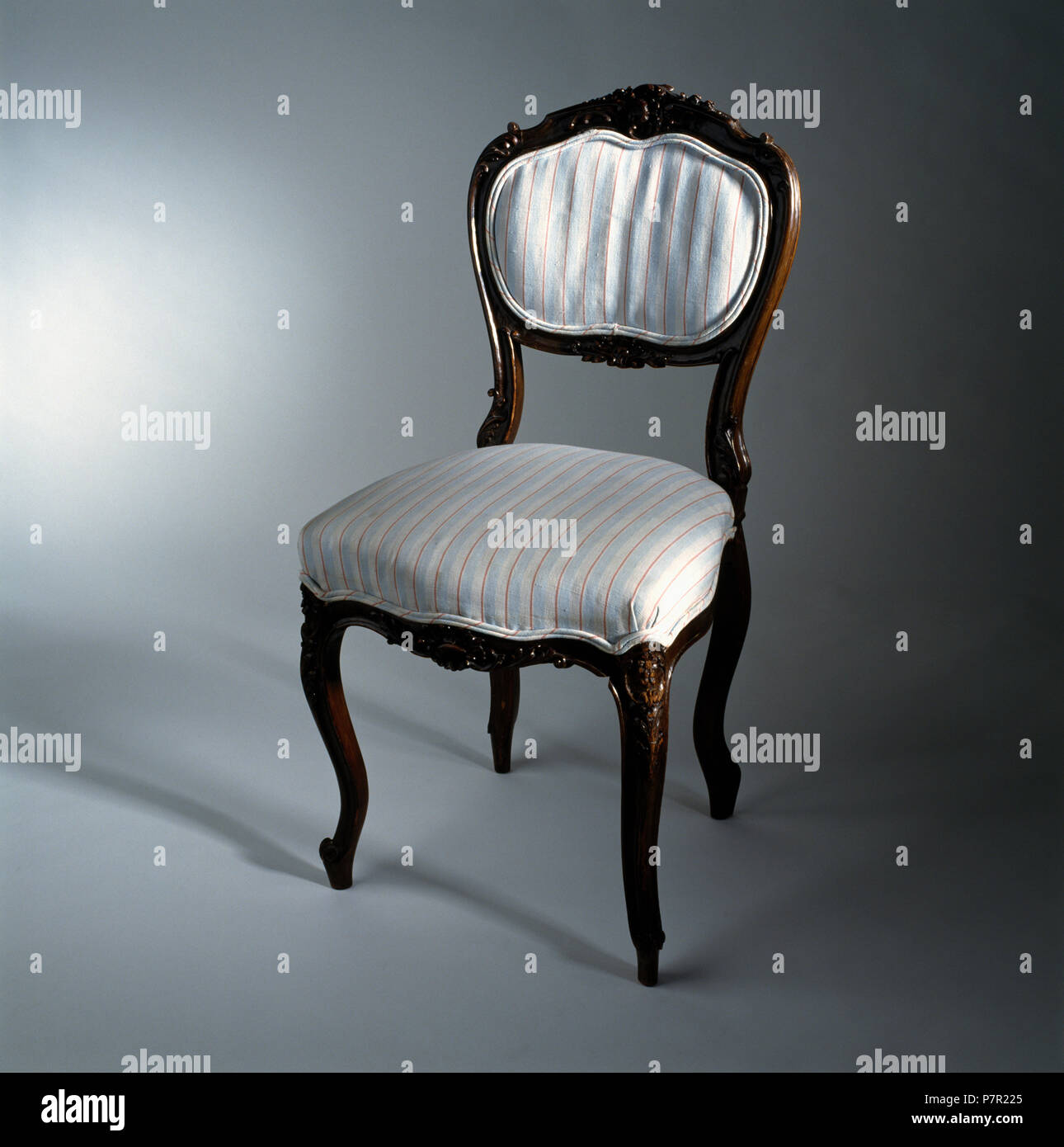 Close Up Of Victorian Dining Chair Re Upholstered With Striped White Fabric Stock Photo Alamy