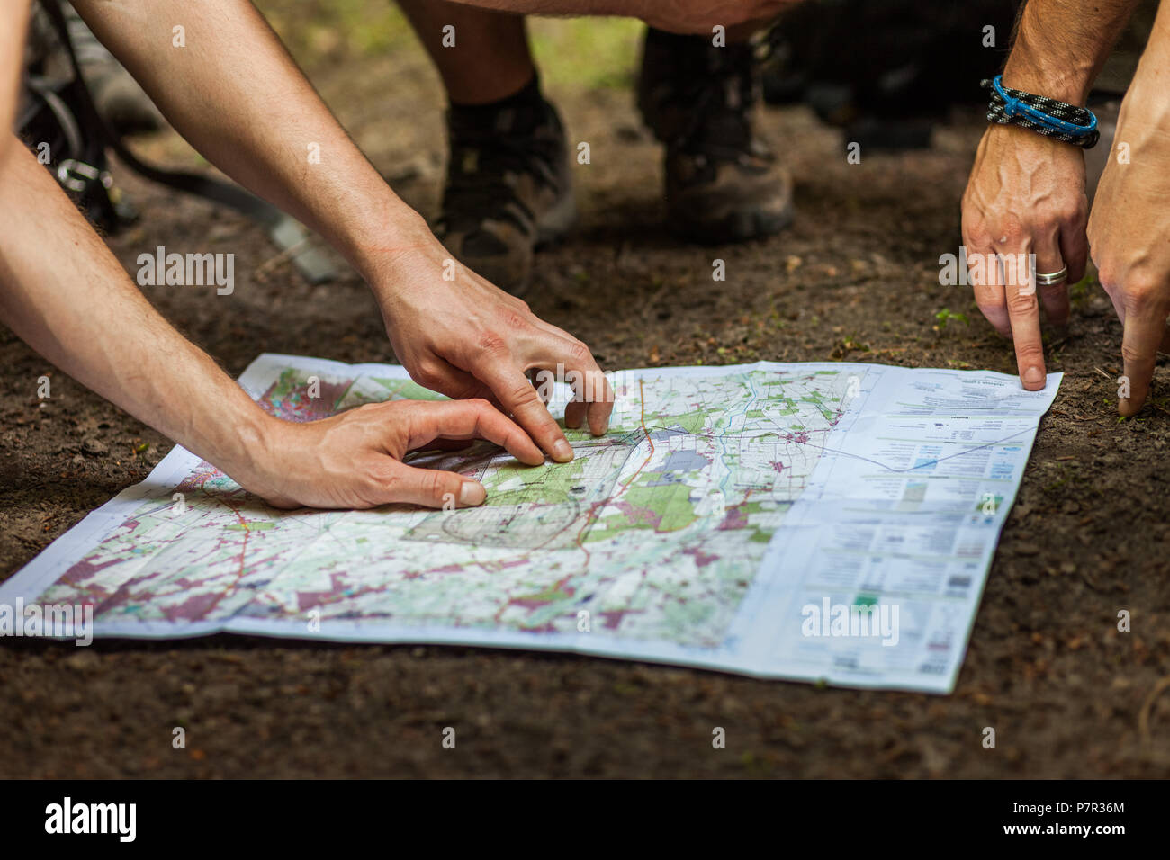 A group of hikers uses map and compass to navigate through the forest - Stock Image