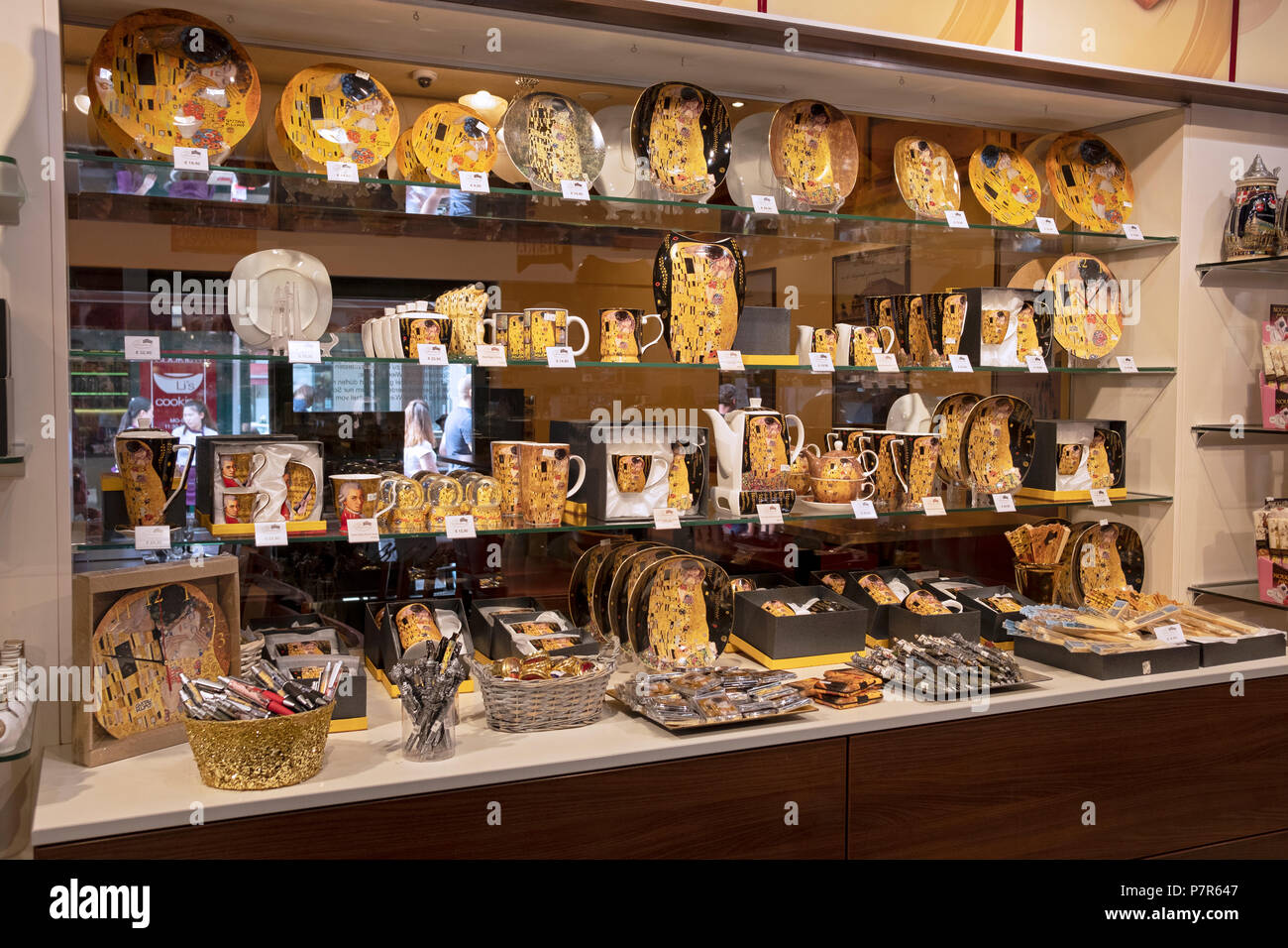 A tourist oriented store at the Vienna Market in Austria selling Gustav Klimt gifts including plates, mugs and other tchotchkes.