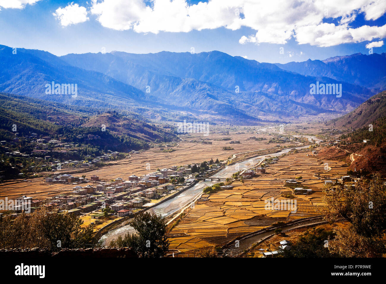The city of Paro and the Paro Valley in western Bhutan. - Stock Image