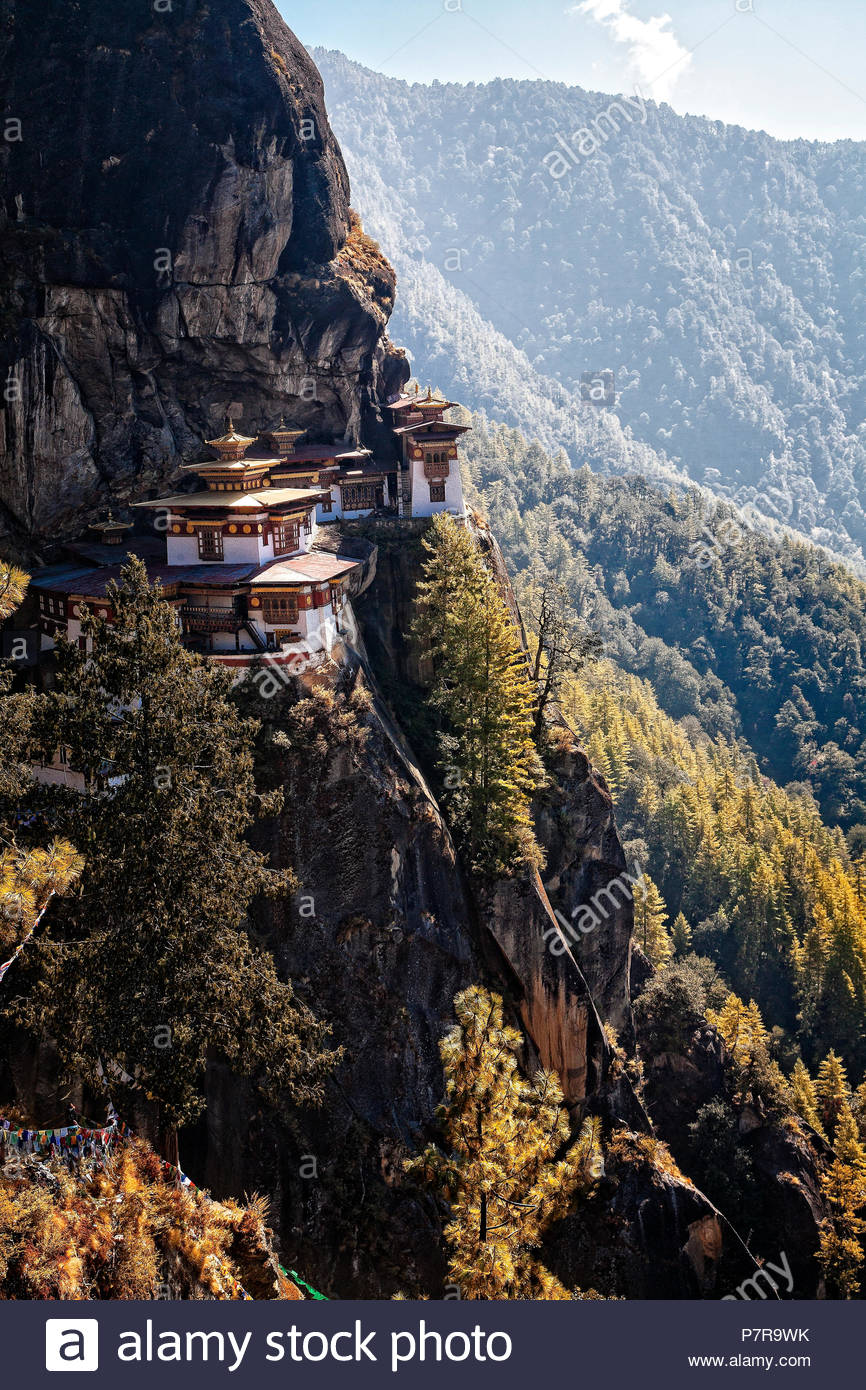 Taktsang Palphug Monastery or the Tigers Nest near Paro Bhutan was originally constructued in 1692 and is considered a sacred site. - Stock Image