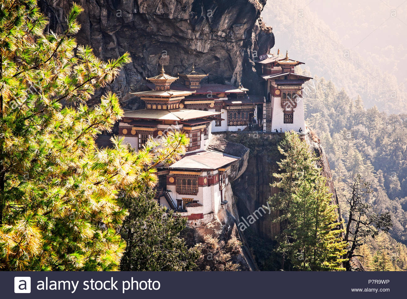 Taktsang Palphug Monastery or the Tigers Nest near Paro Bhutan was originally constructued in 1692. - Stock Image