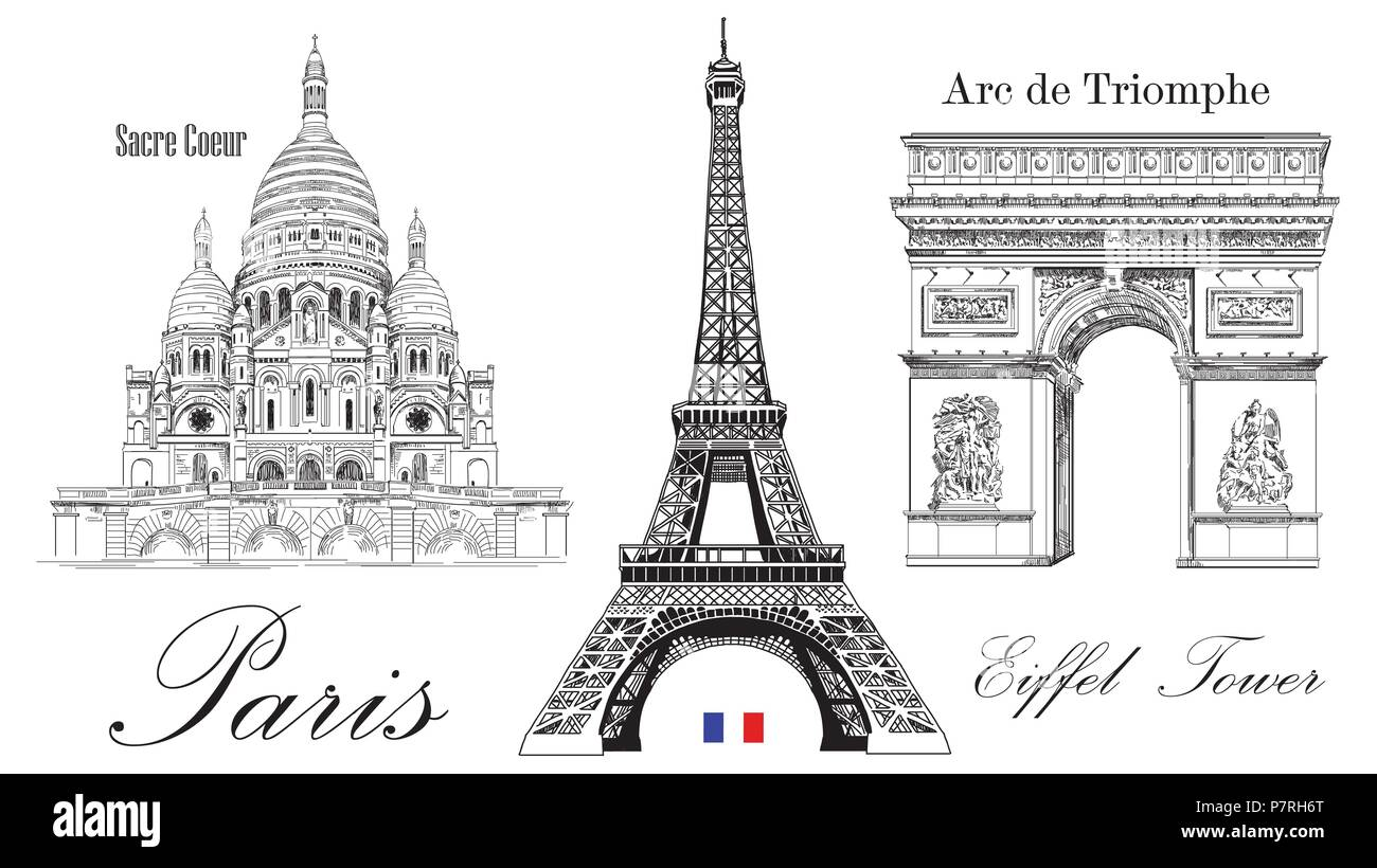Vector eiffel tower triumphal arch and sacre coeur cathedral vector eiffel tower triumphal arch and sacre coeur cathedral vector hand drawing image isolated on white background thecheapjerseys Gallery