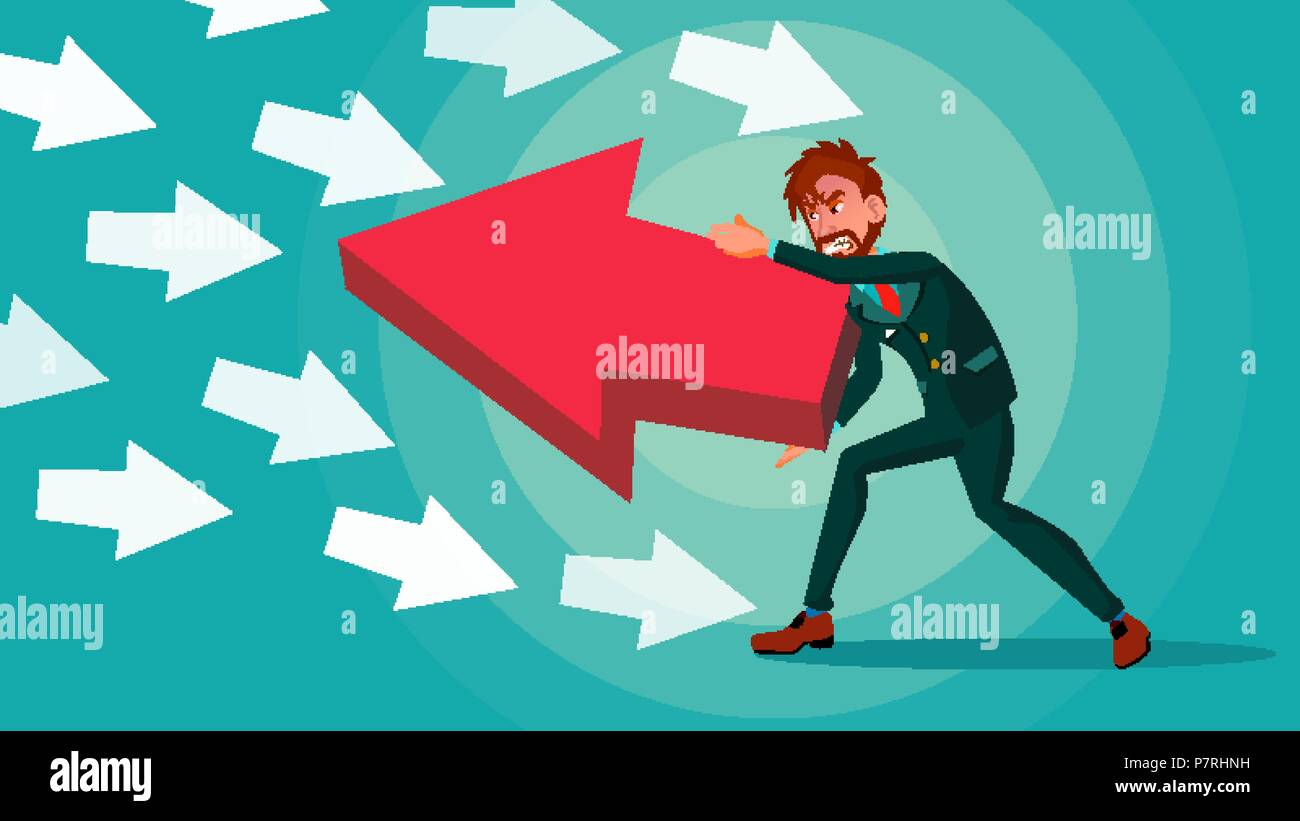 Businessman Pushing Arrow Vector. Strategy Concept. Standing Out From The Crowd. Different Idea. Against Obstacles. Opposite Direction. Cartoon illustration - Stock Vector