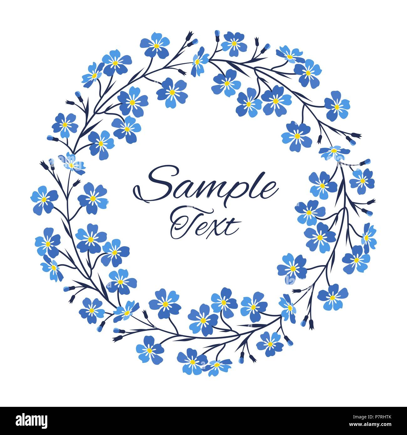 Vector illustration blue flowers wreath of blue forget me not vector illustration blue flowers wreath of blue forget me not flowers izmirmasajfo