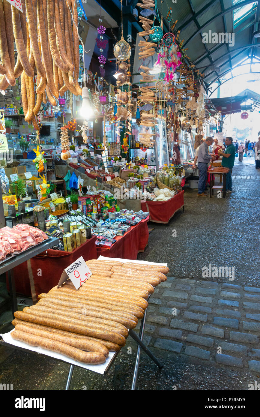 Sausages for sale in the Modiano Market, Thessaloniki Macedonia, Northern Greece - Stock Image