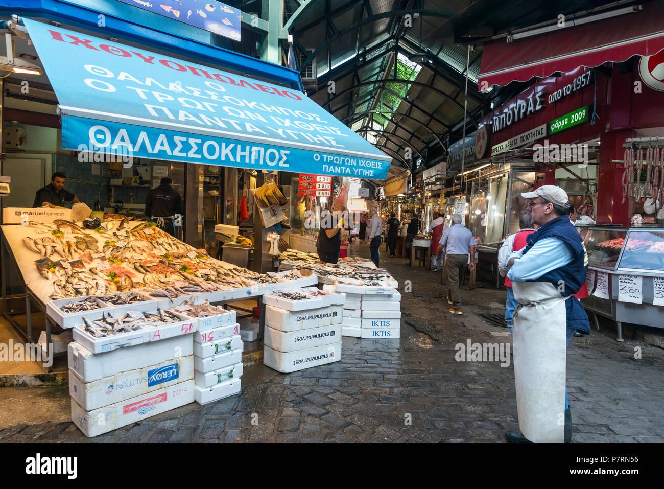 Fish stalls at Modiano Market, Thessaloniki Macedonia, Northern Greece - Stock Image
