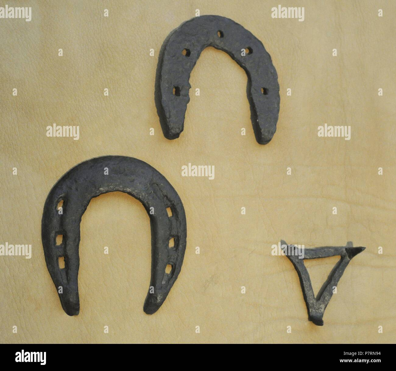 Scandinavia. Horseshoes. High Middle Ages. Crampon. Driven into the horseshoe to prevent slipping on ice. Norway. Historical Museum. Oslo. Norway. - Stock Image