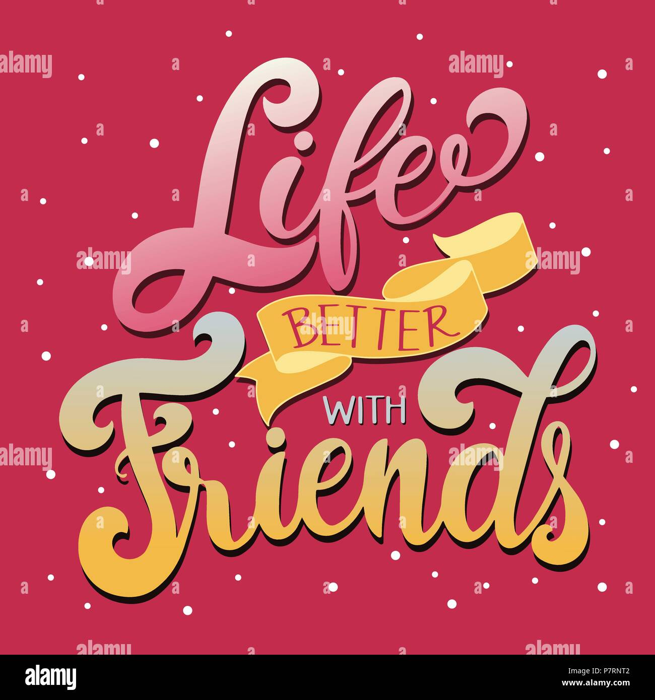 Friendship Day Hand Drawn Lettering Life Better With Friends