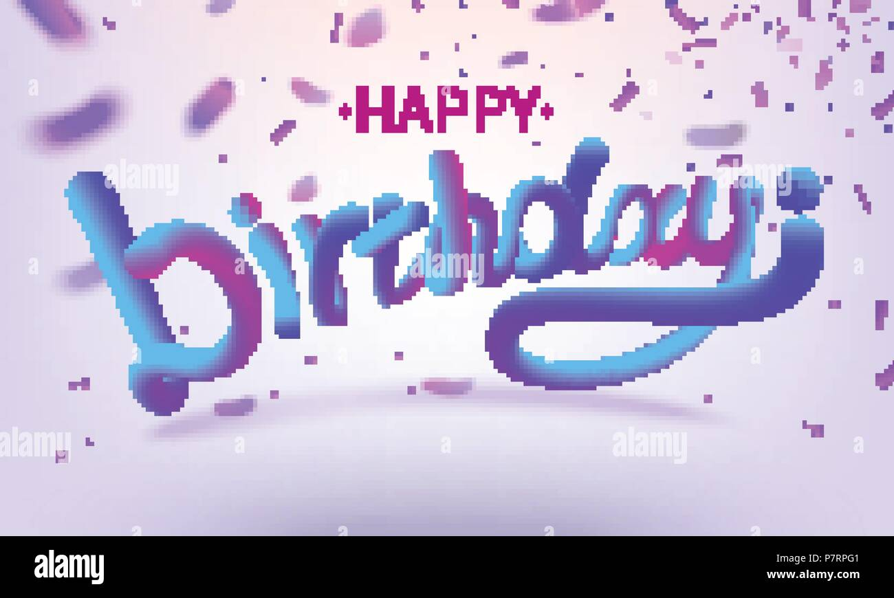 stock vector illustration defocused happy birthday font with letters glossy pink paint letters happy birthday 3d style render of bubble font with glint
