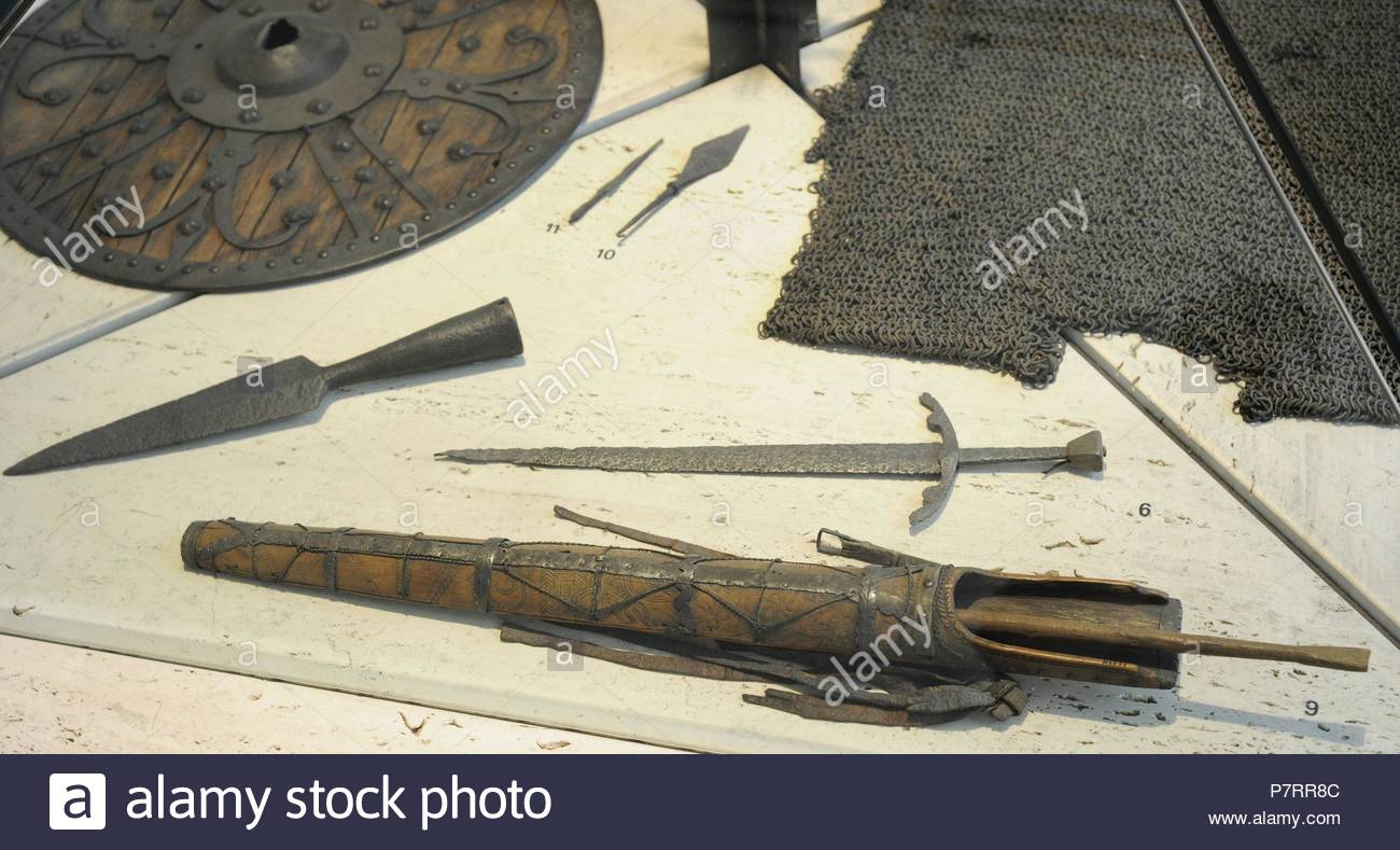 Scandinavia. Middle Ages. Dagger, Vestre Slidre, Oppland, 15th-16th century. Arrow for crossbow. Lesja, Gudbrandsdal, Oppland. Arrowhead, Dal, Tinn, Telemark. Arrowhead, Old Town, Oslo. Norway. Historical Museum. Oslo. Norway. - Stock Image