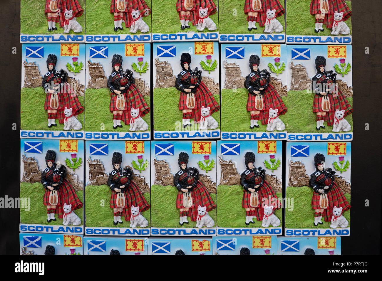 Scottish fridge magnets for sale on the Roal Mile in Edinburgh, Scotland, UK. - Stock Image
