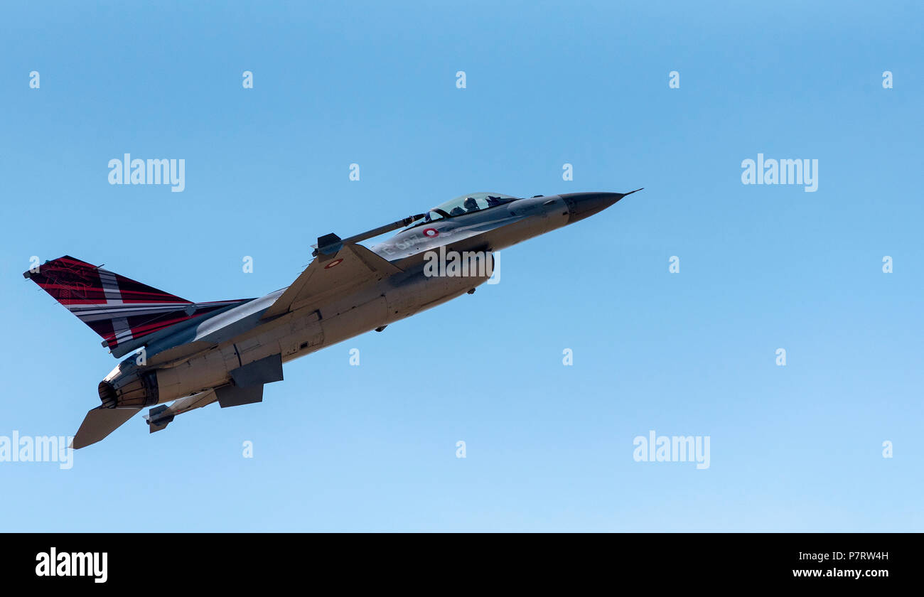 F-16 Fighting Falcon of the Royal Danish Air Force flying over the Somerset area of England UK Stock Photo