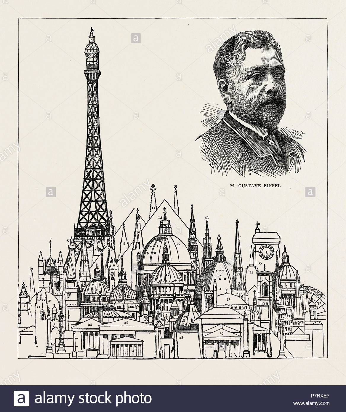 THE EIFFEL TOWER AT THE PARIS EXHIBITION AS COMPARED WITH SOME OF THE HIGHEST BUILDINGS IN THE WORLD: 1. Porcelain Tower, Nankin, China, 200 feet. 2. Chichester Cathedral, 270 feet. 3. Victoria Tower, Westminster, 331 feet. 4. Bell Tower, St. Mark's, Venice, 323 feet. 5. Torre Asinelli, Bologna, 370 feet. 6. Friburg Cathedral, 385 feet. 7. Chartres Cathedral, 403 feet. 8. St. Stephen's Cathedral, Vienna, 441 feet. 9. Torazzo of Cremona, 396 feet. 10. Strasburg Cathedral, 468 feet. 11. Cologne Cathedral, 510 feet. 12. Old St. Paul's, London, 508 feet. 13. Great Pyramid, 460 feet. 14. Church of  - Stock Image