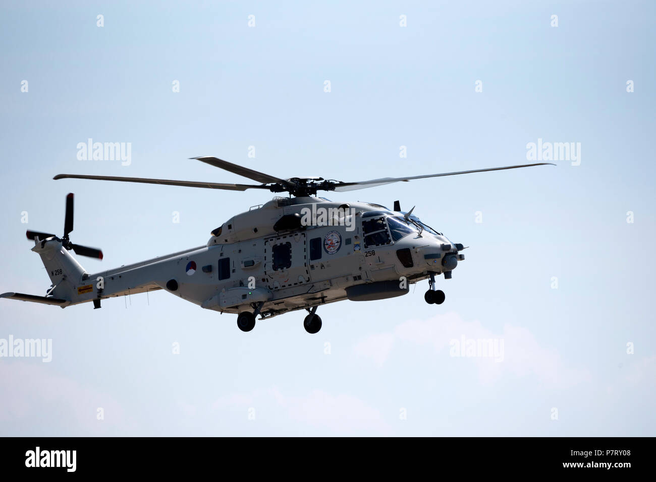 NHindustries NN90 NFH multi mission maritime helicopter in flight. Somerset, England UK - Stock Image