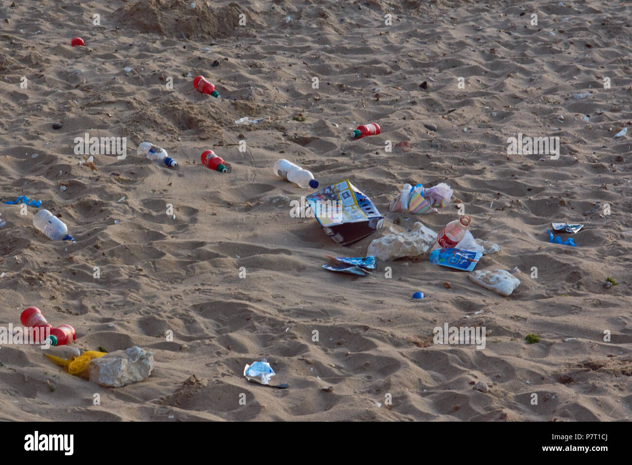 Plastic Pollution on English Beaches - Stock Image