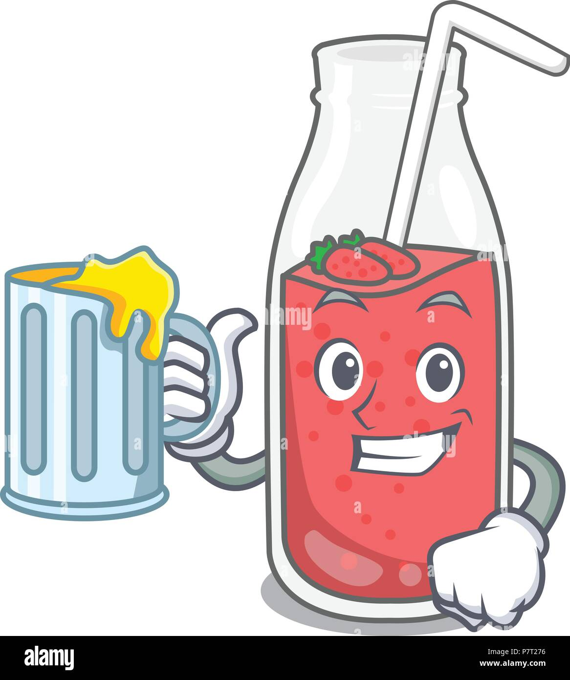 With juice strawberry smoothie mascot cartoon Stock Vector