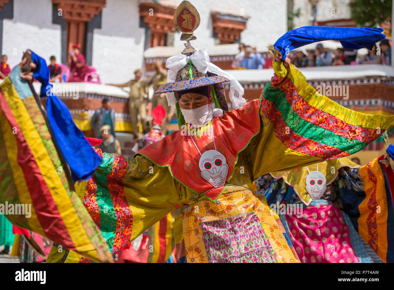 Leh, India - July 4, 2017: Unidentified monks in mask performing a religious masked and costumed mystery dance of Tibetan Buddhism during the Buddhist - Stock Image