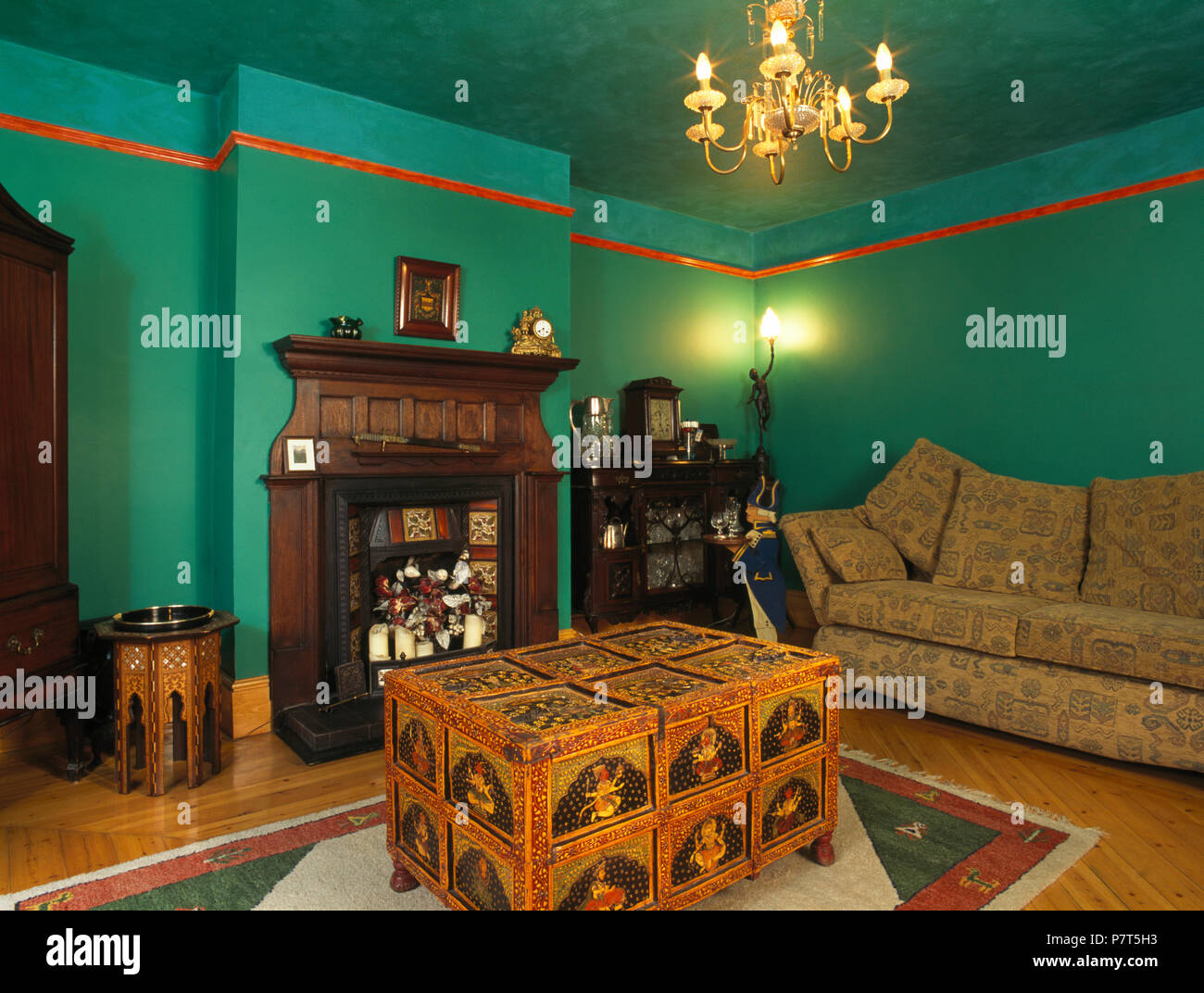 Middle eastern style painted chest in green nineties living ...