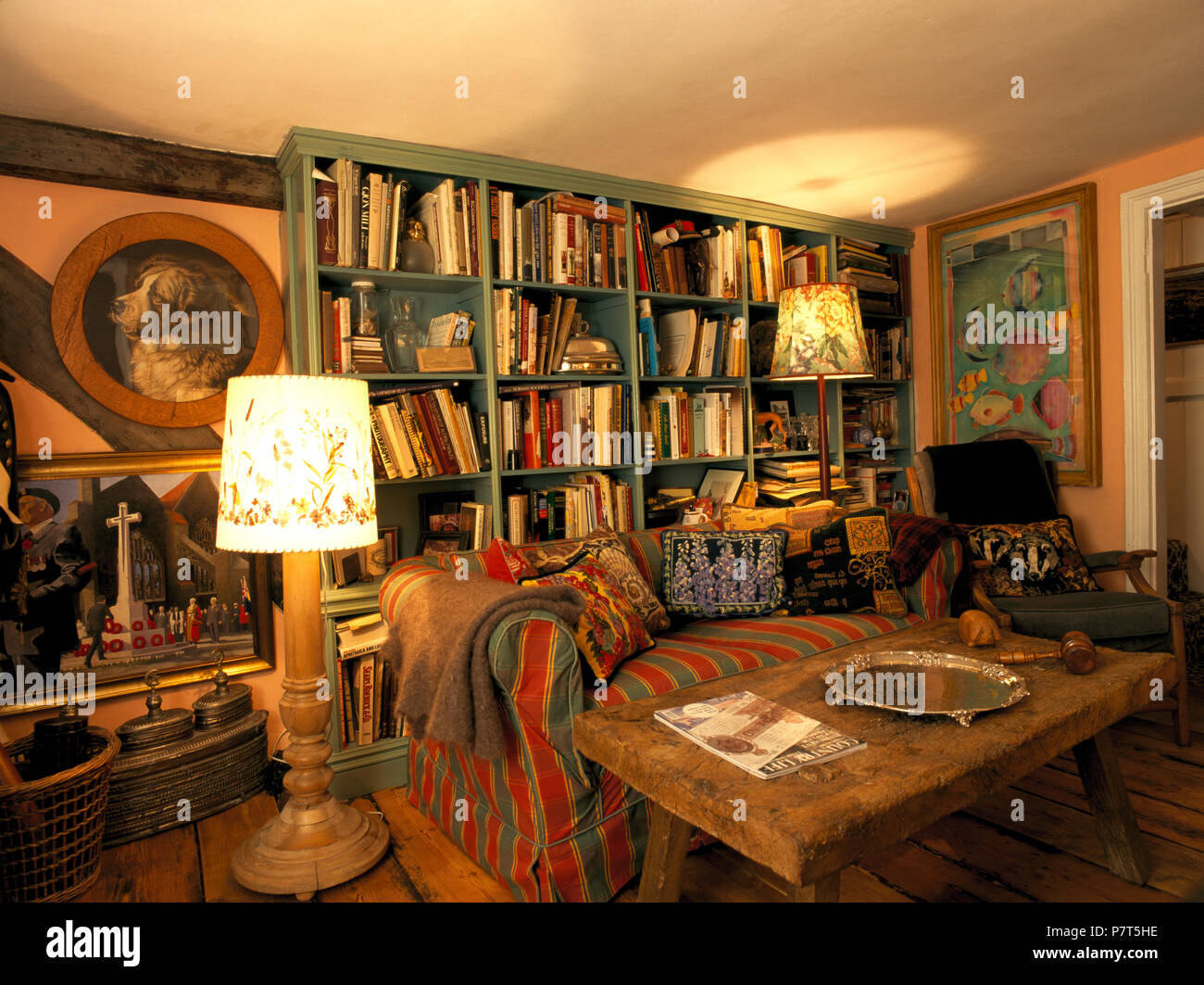 Astounding Green Bookshelves In Cluttered And Old Fashioned Cottage Download Free Architecture Designs Embacsunscenecom