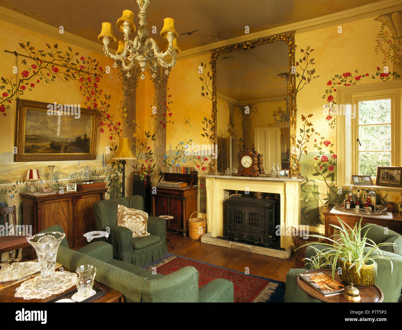 Antique Furniture In Old Fashioned Drawing Room With Decoratively Painted Walls Stock Photo Alamy