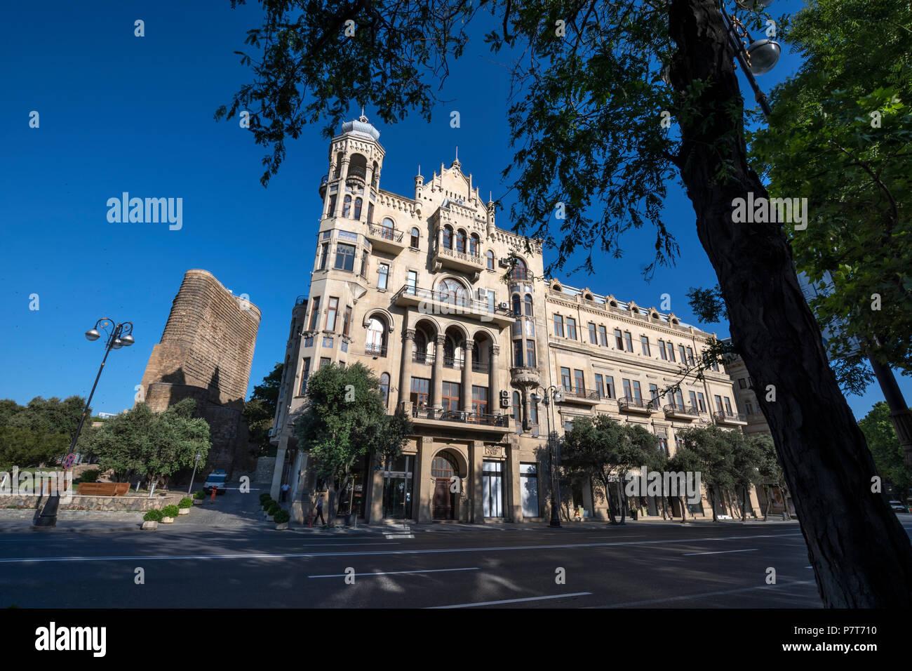 Qiz Galasi, Maiden's Tower in the Icheri Sheher( Ichari Shahar)of Baku, Azerbaijan - Stock Image