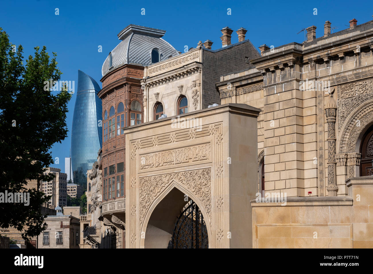 Juma Mosque and Flam Towers in Icheri Sheher, Ichari Shahar, Inside the Old City of Baku ,Azerbaijan - Stock Image