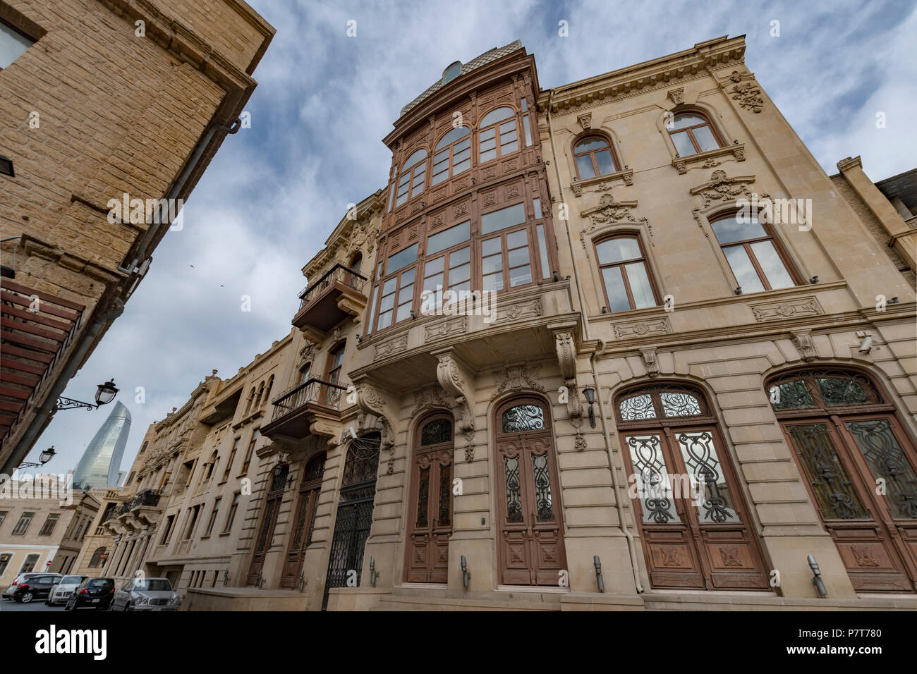 Elegant buildings and The Flame Towers  in Baku,Azerbaijan - Stock Image