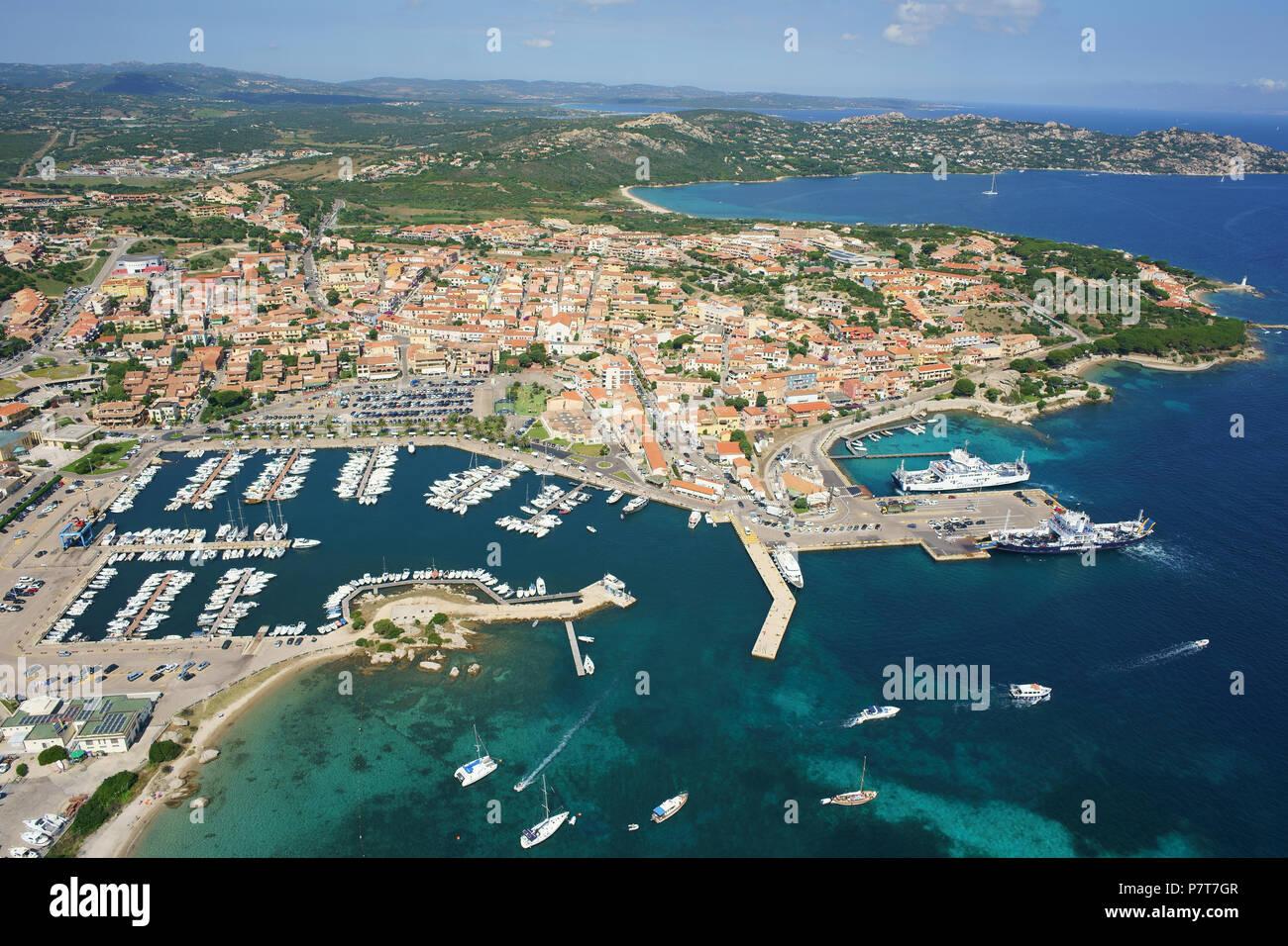 CITY OF PALAU AND ITS MARINA (aerial view). Gallura, Province of Olbia-Tempio, Sardinia, Italy. - Stock Image