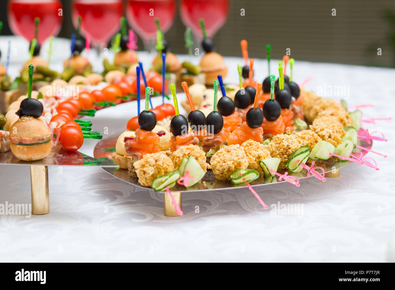 the canape is served on a plate - Stock Image