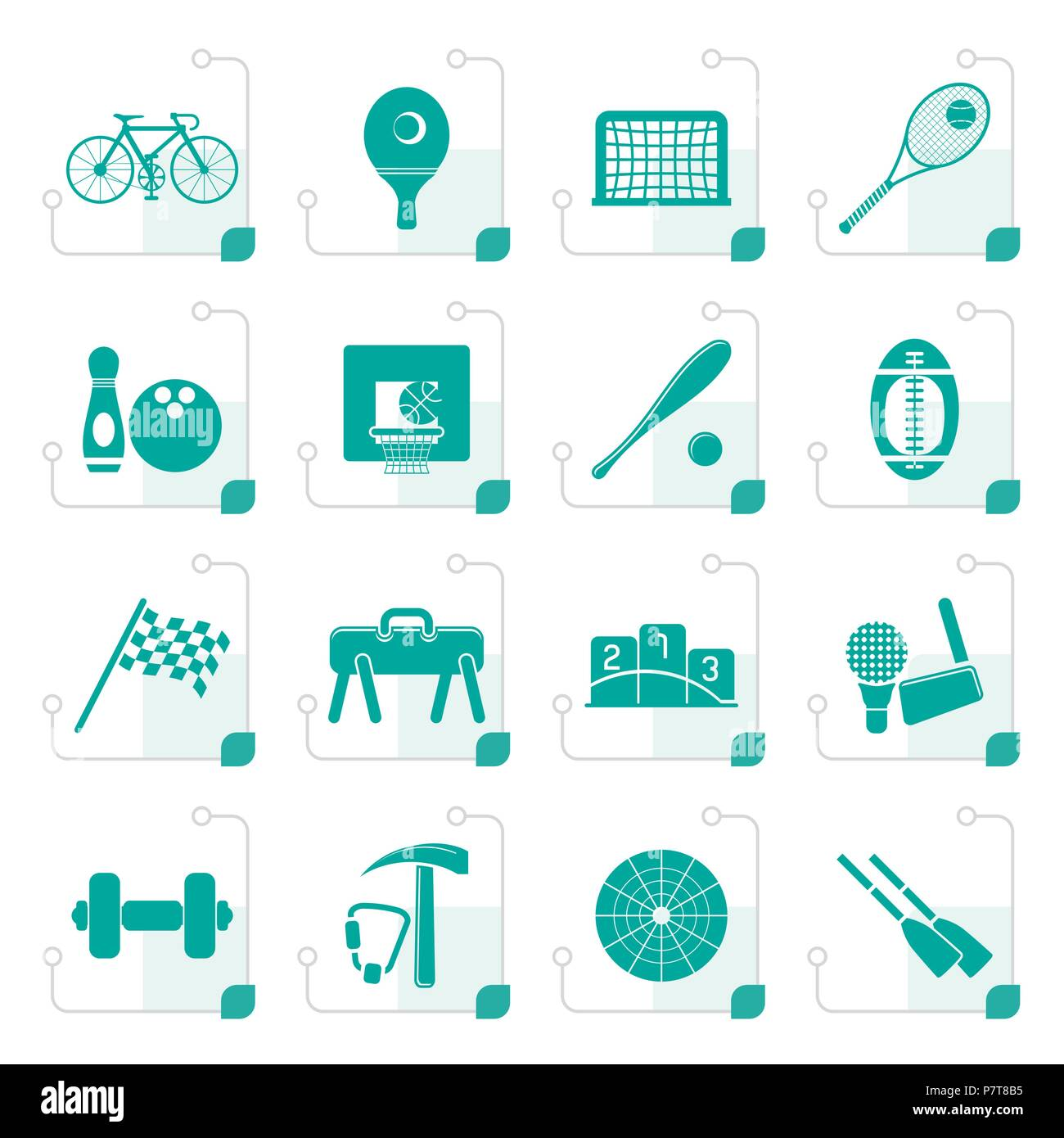 Stylized  Simple Sports gear and tools icons - vector icon set - Stock Vector