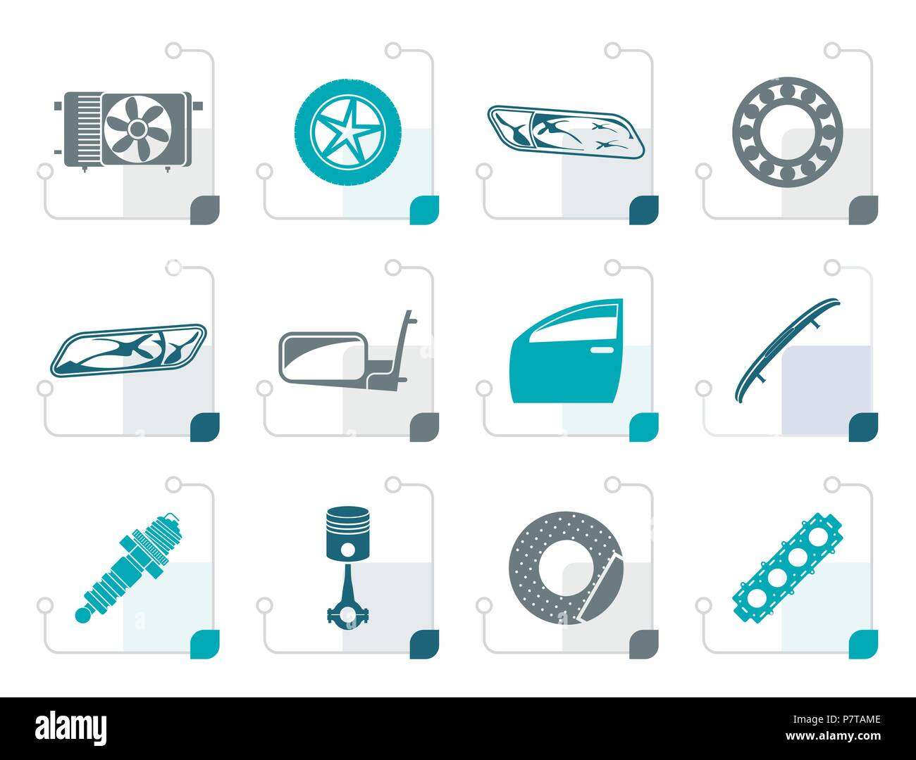 Stylized Realistic Car Parts and Services icons - Vector Icon Set 1 - Stock Vector