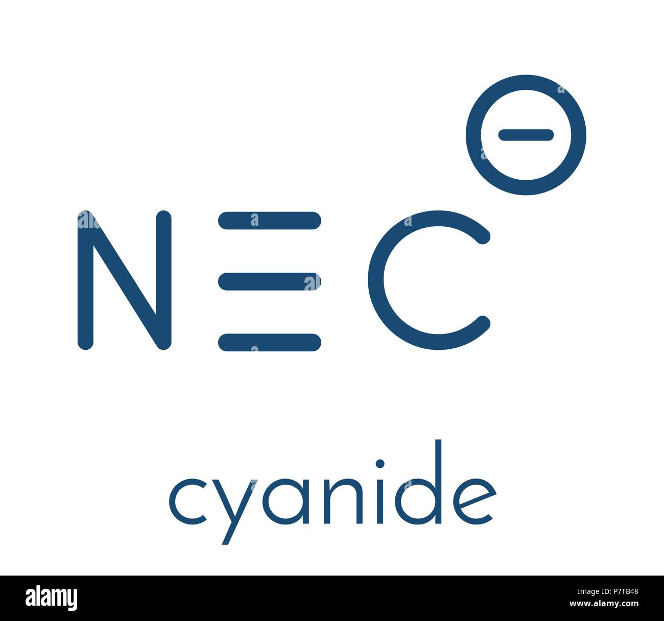 Cyanide anion, chemical structure. Cyanides are toxic, due to inhibition of the enzyme cytochrome c oxidase. Skeletal formula. Stock Vector