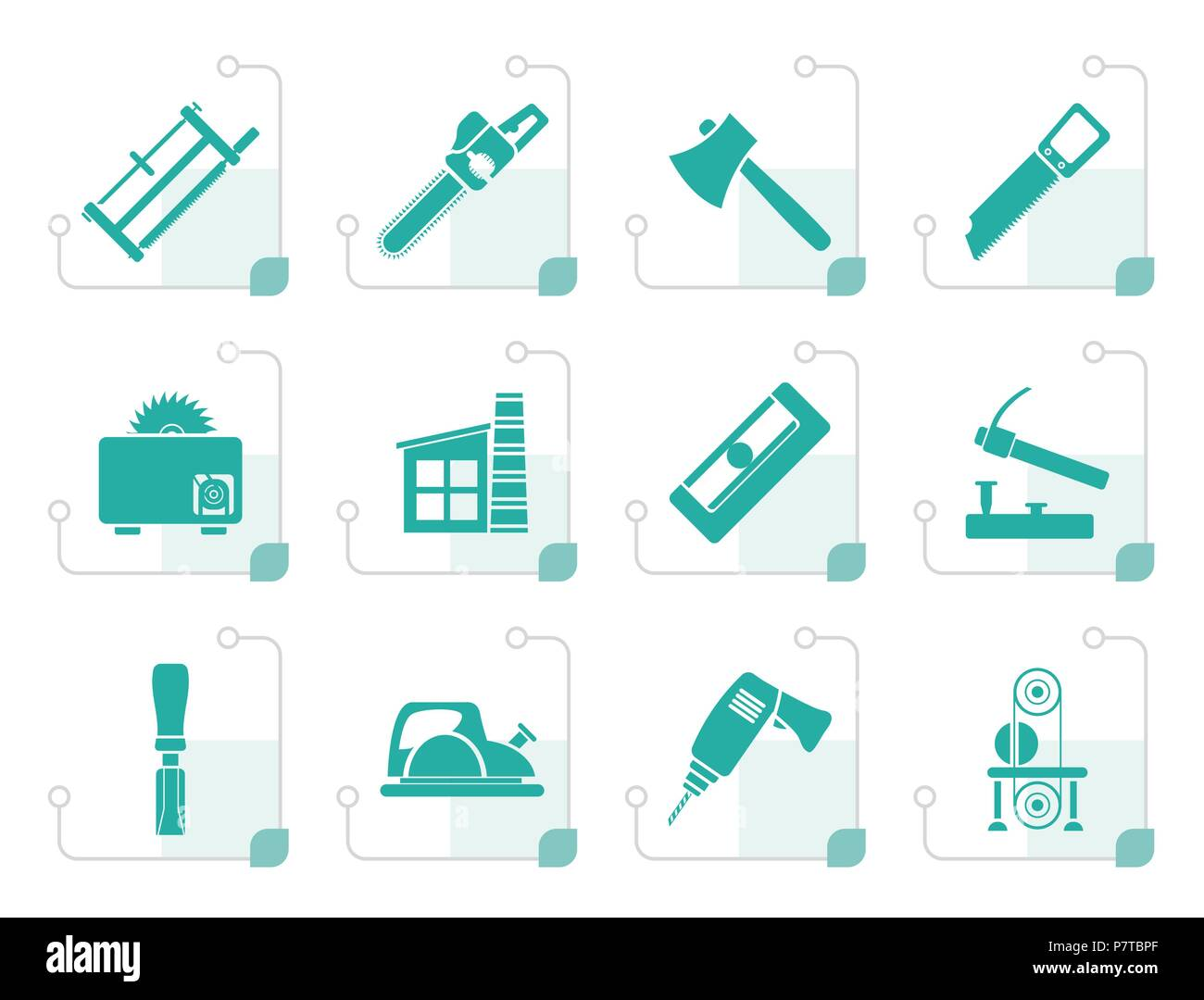 Stylized Woodworking Industry And Woodworking Tools Icons Vector