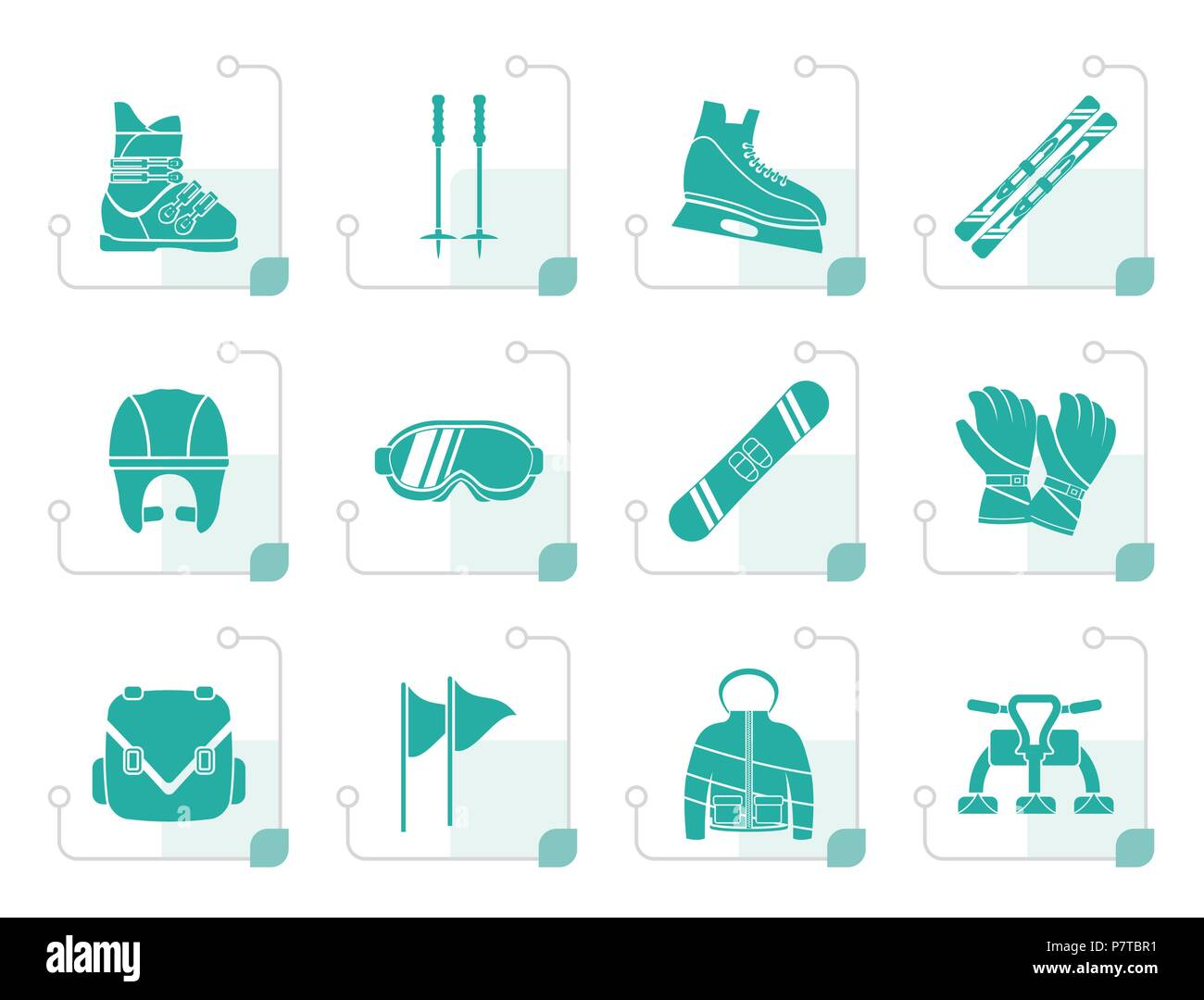 Stylized ski and snowboard equipment icons - vector icon set - Stock Image