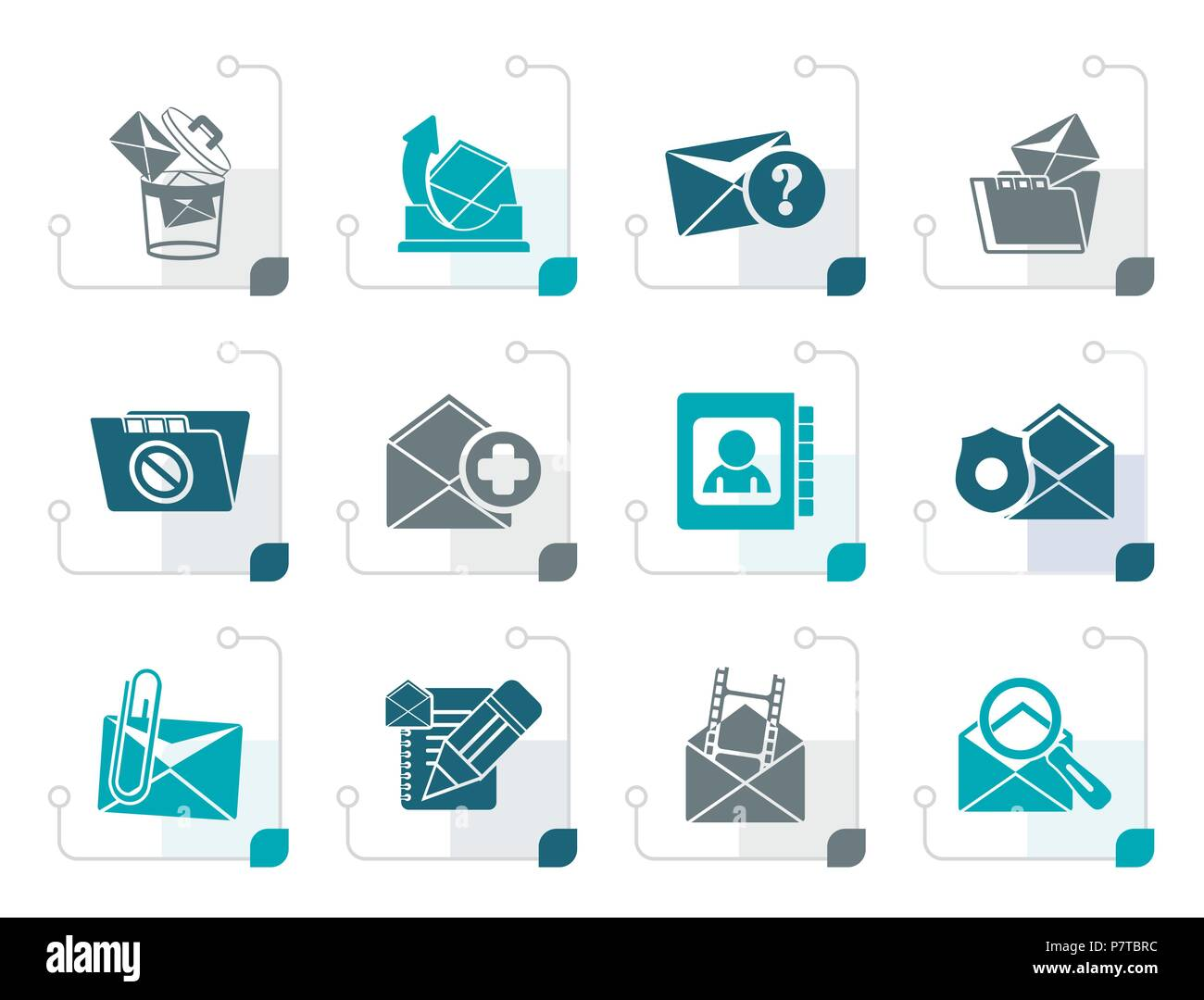 Stylized E-mail and Message Icons - vector icon set - Stock Image
