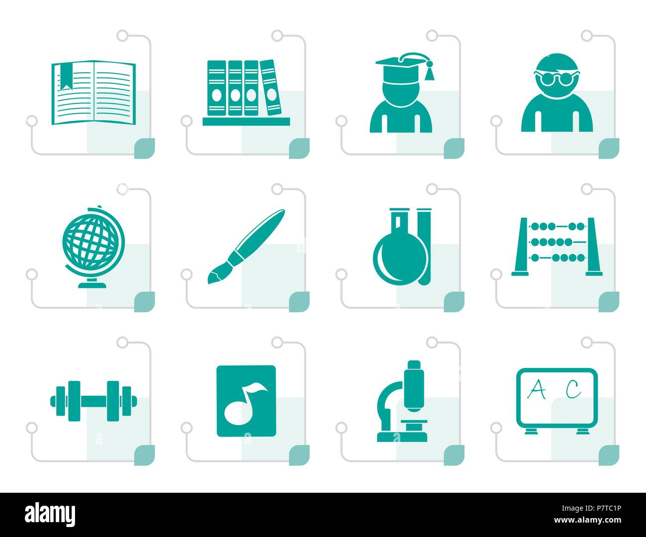 Stylized school and education icons - vector icon set - Stock Vector