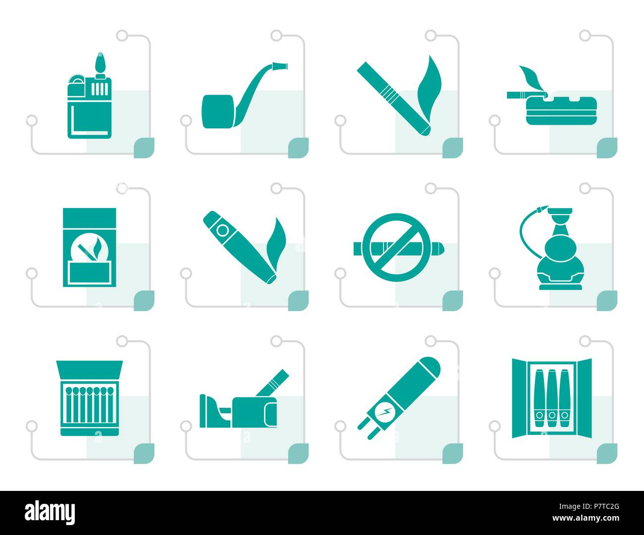 Stylized Smoking and cigarette icons - vector icon set - Stock Vector